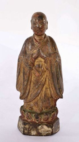 16C Chinese Lacquer Bronze Polychrome Monk Buddha Figure Figuine