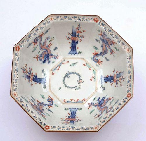 Old Japanese Arita Imari Kakiemon Style Studio Porcelain Bowl Dragon