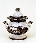 Antique 19th Century Flow Black Mulberry Sugar Bowl