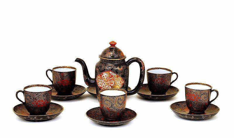 Meiji Japanese Kutani Lacquer 11 pc Teaset Teapot