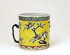 Old Chinese Export Famille Rose Cup Tankard Mug Stein