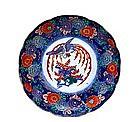 Old Japanese Enamel Imari Kutani Plate w Phoenix