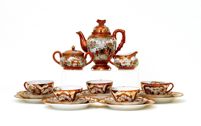 Old Japanese Kutani Satsuma Style Teapot Tea Set Sg