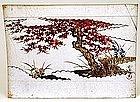 Old Japanese Screen Byobu Painting Panel Maple Tree