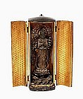 19C Japanese Lacquer Wood Zushi Travel Shrine Buddha