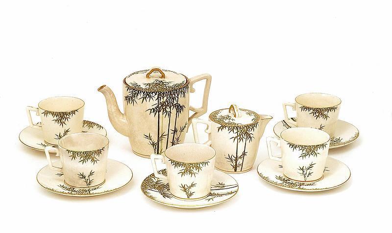12 Old Japanese Satsuma Bamboo Tea Set Teapot Sg