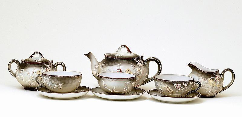 9 Old Japanese Nippon Moriage Red Jewel Teapot Teaset