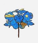 19C Chinese Kingfisher Feather & Bead Hair Pin