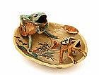 Old Japanese Satsuma 2 Frog Shell Shaped Dish