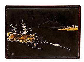 Old Japanese Komai Mixed Metal Wood Box Sg