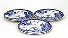 3 Old Japanese Arita Imari Studio Blue & White Plate