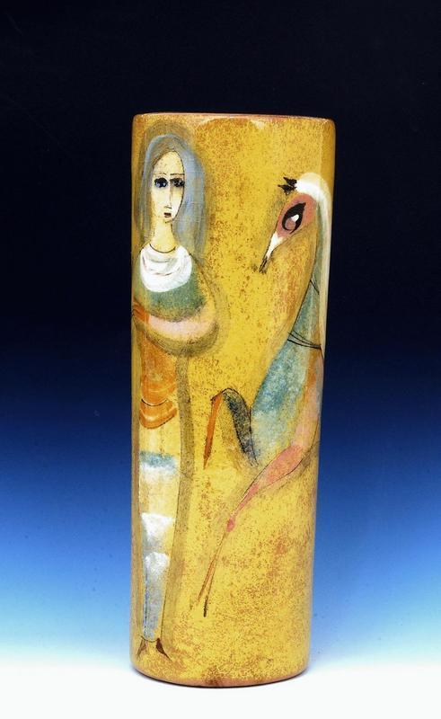 Polia Pillin Yellow Glaze Vase with Girl Horse Signed
