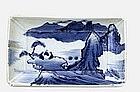 Old Japanese Blue & White Imari Rect. Plate Mount Scene