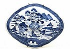 19C Chinese Canton Export Blue & White Tureen Cover