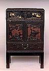Meiji Japanese Cinnabar Lacquer Chest Cabinet Kodansu