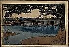 Old Japanese Woodblock Print Yoshida Seta Bridge