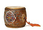 Old Japanese Painted Wood Leather Taiko Drum