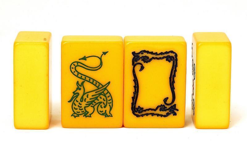Bakelite Mahjong Mah Jong Jongg Set Box w Dragon