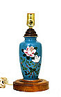 Old Japanese Turquoise Cloisonne Rose Lamp Vase