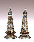 2 Old Chinese Silver Enamel Pagoda Altar Piece Buddha