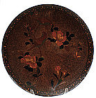 Old Japanese Totai Bark Tree Cloisonne Charger w Bird