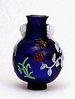 Chinese Cobalt Blue 4 Colors Overlay Peking Glass Vase