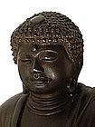 Old Japanese Bronze Seated Buddha Daibutsu Sg