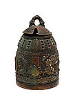 Old Japanese Brass Dragon Bell Shp Ink Well Inkwell