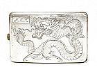 Old Chinese Silver Cigarette Case w Dragon Mk