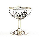 Old Japanese Silver Wine Cup Goblet w Iris Mk