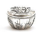 Old Japanese Silver Cover Bowl Box w Iris Flower Mk