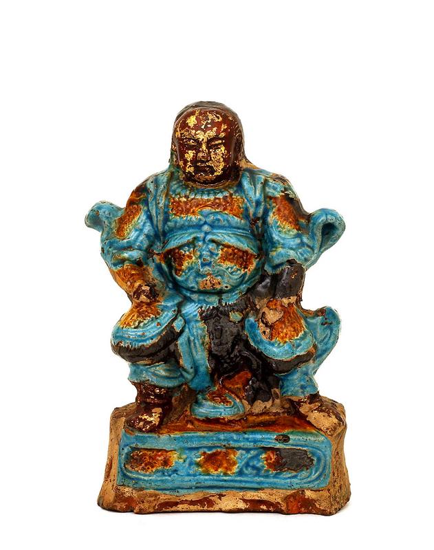 18C Chinese Gilt Lacquer Terracotta Zhen Wu Figure Buddha