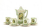 9 Japanese Nippon Moriage Dragon Chocolate Teapot Set