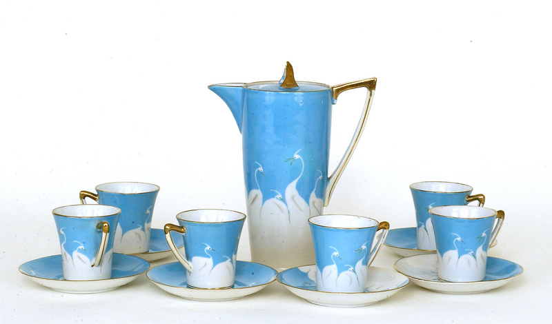 13 Old Japanese Nippon Chocolate Tea Set Crane Bird