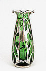 Sterling Silver Overlay Green Glass Vase Steuben Style