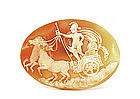 Old Cameo Shell Pendant Apollo Horse Chariot