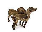 Austrian Vienna Cold Painted Bronze 2 Dog Puppy Figure
