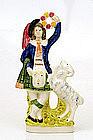 Staffordshire Figurine Highlander Sheep Spill Vase