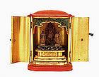 Old Japanese Lacquer Zushi Travel Shrine Buddha