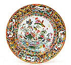 19C Chinese Export Rose Medallion Butterfly Plate