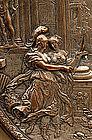 Art Nouveau Silver Plated Bronze Tazza Plate Figurine