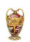 Old Japanese Nippon Moriage Gold Bead Vase Rose