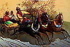 Vintage Russian Lacquer Box Horse Carriage Fedoskino