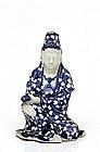 Old Japanese Blue & White Imari Seto Kannon Buddha
