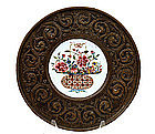 19C Chinese Export Famille Rose Medallion Brass Plate