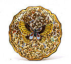 Old Japanese Satsuma Button Belt Buckle Butterfly