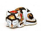 Japanese Kutani Sleeping Cat Neko Black & Gold