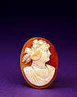 Old Cameo Shell Caved Plaque with Lady