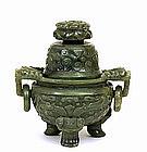 19C Chinese Spinach Jade Fu Lion Dog Censer
