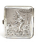 Old India Indian Hindu Silver Cigarette Case Lakshmi